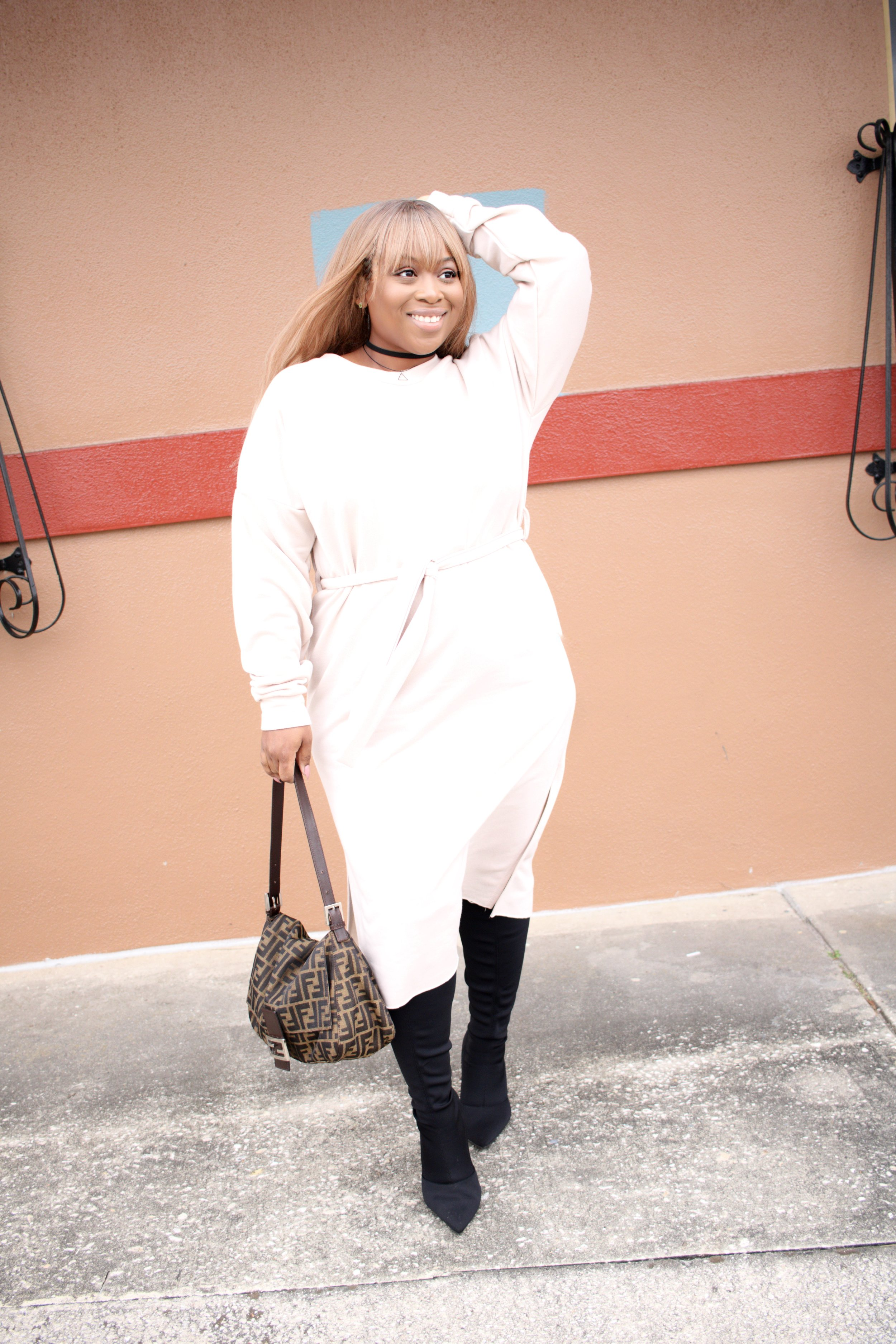 I just LOVE this dress! Its so chic and comfortable! I wore it to work and out on the town In the same week!  SELF-BELT SWEATSHIRT DRESS:  CLICK HERE