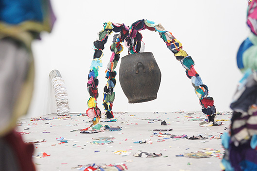 miracle healing and other hopeful things  , 2011   fabric, steel, found object, resin, conrete, variable dimension
