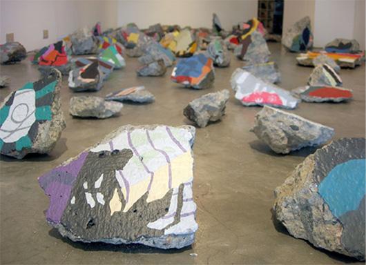 fallen map  , 2008   acrylic on debris, variable dimension