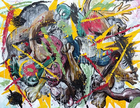 Toon Fight  , 2015   oil, enamel, plaster, glue on canvas, 122 x 152.5 cm