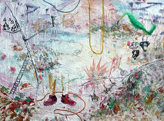 The Battle of Yesteryears  , 2015   oil, enamel, plaster, glue on canvas, 114.5 x 155 cm.