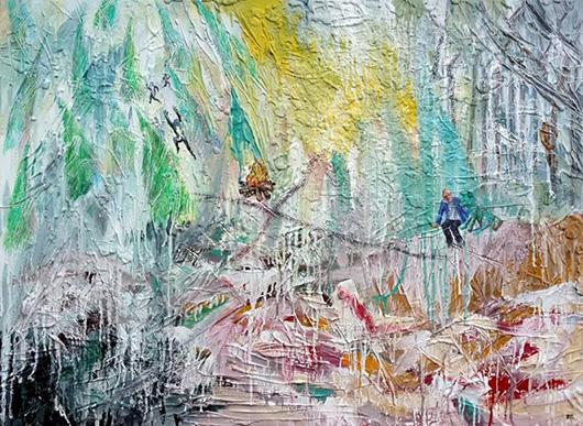 What do I do now?  , 2015   oil, enamel, plaster, glue on canvas, 91.5 x 122 cm.