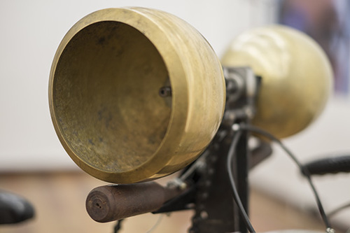Detail view: Hasa, 2014, Modified bicycle, brass bells, wood