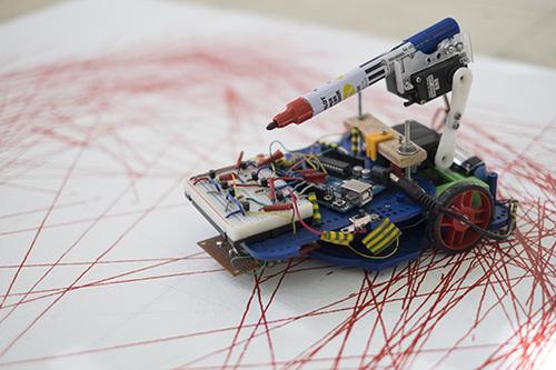 Draw Back,  2014 PVC, wood, metal, batteries,IR sensor, electronic components,marker
