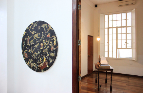 Installation view, (left)  Lie Tiers  & (right)   The Unobserver (Twelve Hours) ; artworks by Ian Jaucian