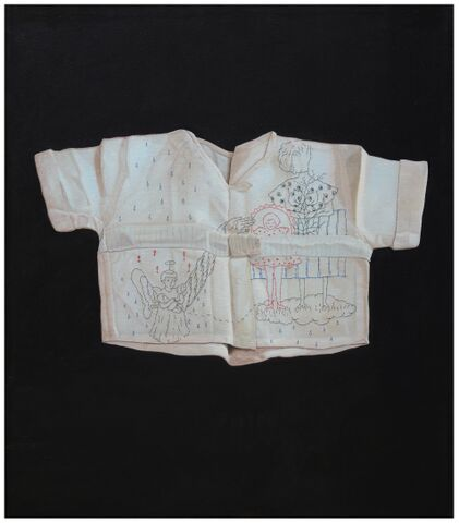 Security Blanket, 2015  Embroidery and Oil on Canvas