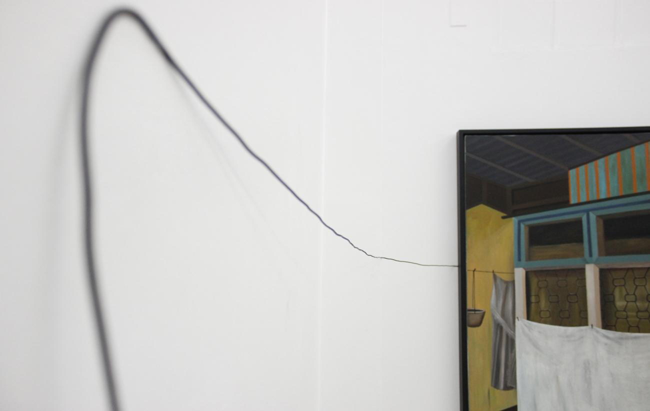 Installation view,  Drying the Sheets  ;artwork by Marina Cruz