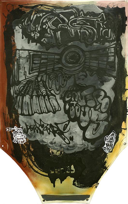 The Insurgent Gasface , 2014 Acrylic on Apron, 106.4x65.6 cm