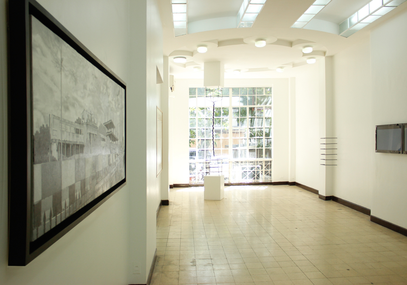 Installation view, (from left to right) Railroad , Untitled (LS000) , Axis of Contention Seamless Incongruence & face value ;artworks by Jose Luis Singson
