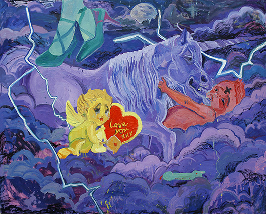 <3 <3 <3 <3 <3 <3 <3 Street Trash Unicorn Kidz <3 <3 <3 <3 <3 <3 <3  , 2014 oil on canvas, 122x152.5 cm