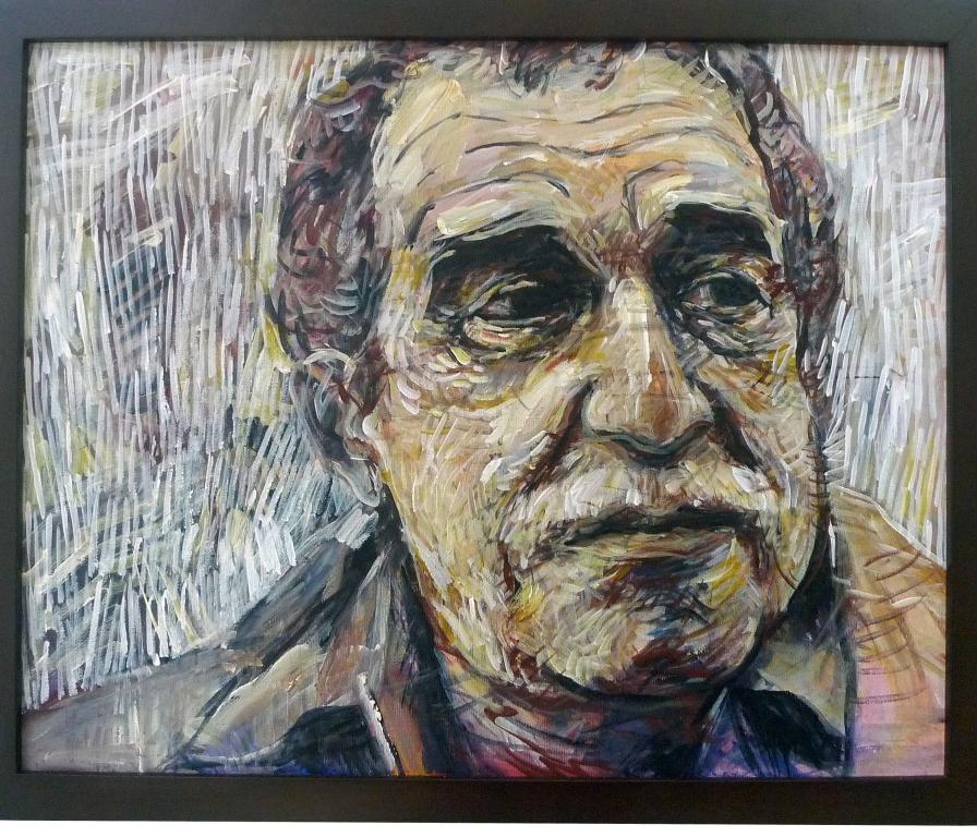 GABRIEL GARCIA MARQUEZ , 2014 Acrylic on canvas 40.5 x 51 cm