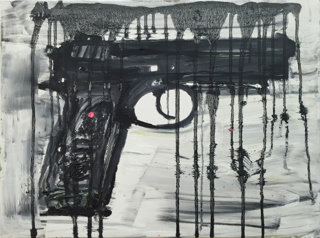"""Untitled (pistol), 2016. Oil on canvas     24 x 18 in / 61 x 45.5 cm         Normal   0           false   false   false     EN-PH   JA   X-NONE                                                                                                                                                                                                                                                                                                                                                                           /* Style Definitions */  table.MsoNormalTable {mso-style-name:""""Table Normal""""; mso-tstyle-rowband-size:0; mso-tstyle-colband-size:0; mso-style-noshow:yes; mso-style-priority:99; mso-style-parent:""""""""; mso-padding-alt:0cm 5.4pt 0cm 5.4pt; mso-para-margin-top:0cm; mso-para-margin-right:0cm; mso-para-margin-bottom:10.0pt; mso-para-margin-left:0cm; line-height:115%; mso-pagination:widow-orphan; font-size:11.0pt; font-family:""""Calibri"""",""""sans-serif""""; mso-ascii-font-family:Calibri; mso-ascii-theme-font:minor-latin; mso-hansi-font-family:Calibri; mso-hansi-theme-font:minor-latin; mso-fareast-language:EN-US;}"""