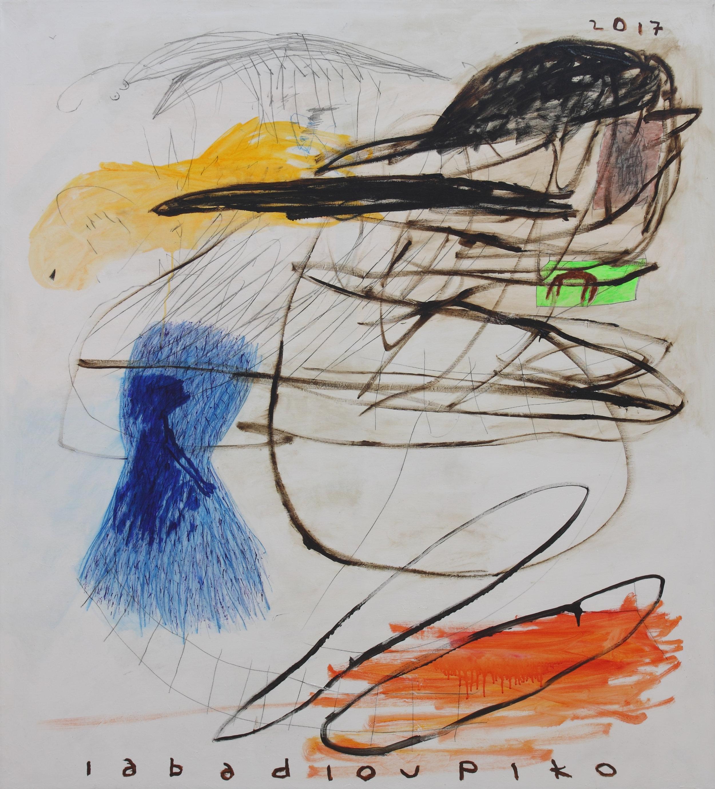 PIKO IABADIOU   Melihat Sunyi Disekeliling Putih,  2016 acrylic bitumen pencil on canvas 160 x 145 cm