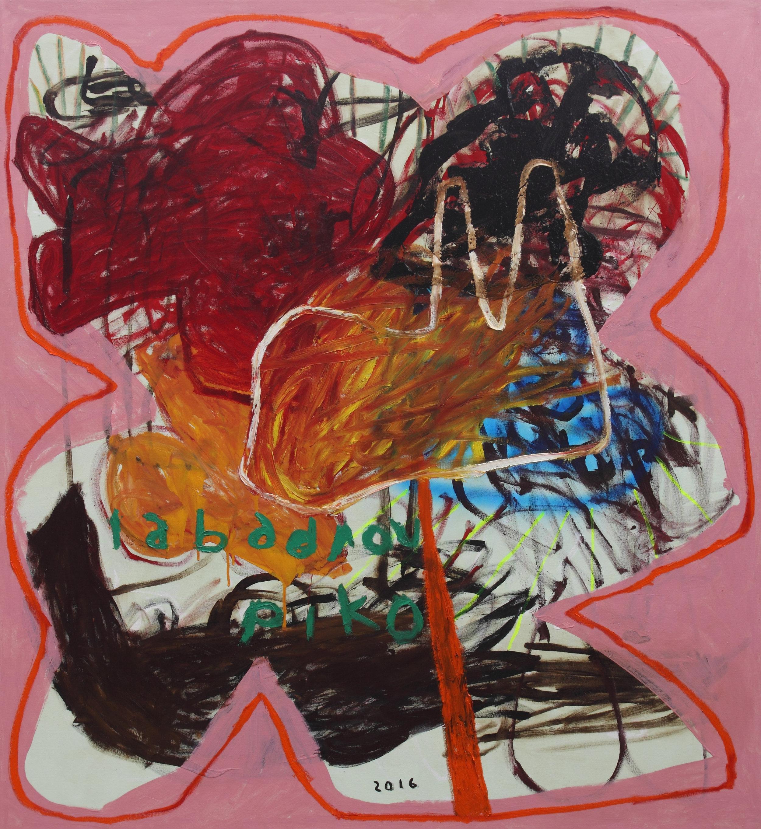 PIKO IABADIOU   Bunga Sunyi,  2016 acrylic bitumen oil alkyd aerosol spray paint on canvas 160 x 145 cm