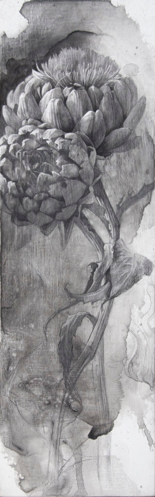 When They Bloom, 2015. Ink and charcoal on panel.18.5 x 5.75 inches.  Available