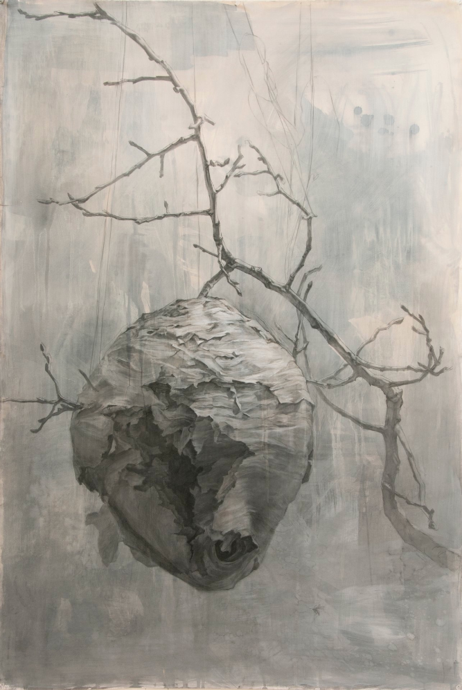 Home ,2013. Gouache and charcoal on paper. 46 x 32 inches.  Available