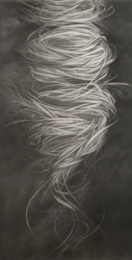Emergence, 2013. Charcoal on paper.44 x 23 inches.  Available