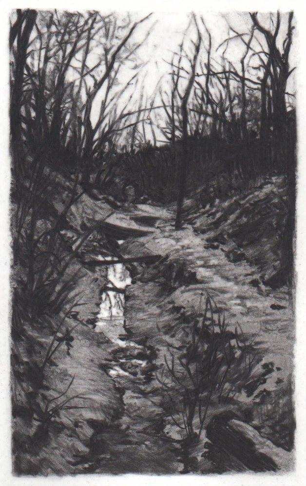 Dusk in Memory , 2013. Charcoal on mylar. 4.25 x 2.25 inches. Private collection.