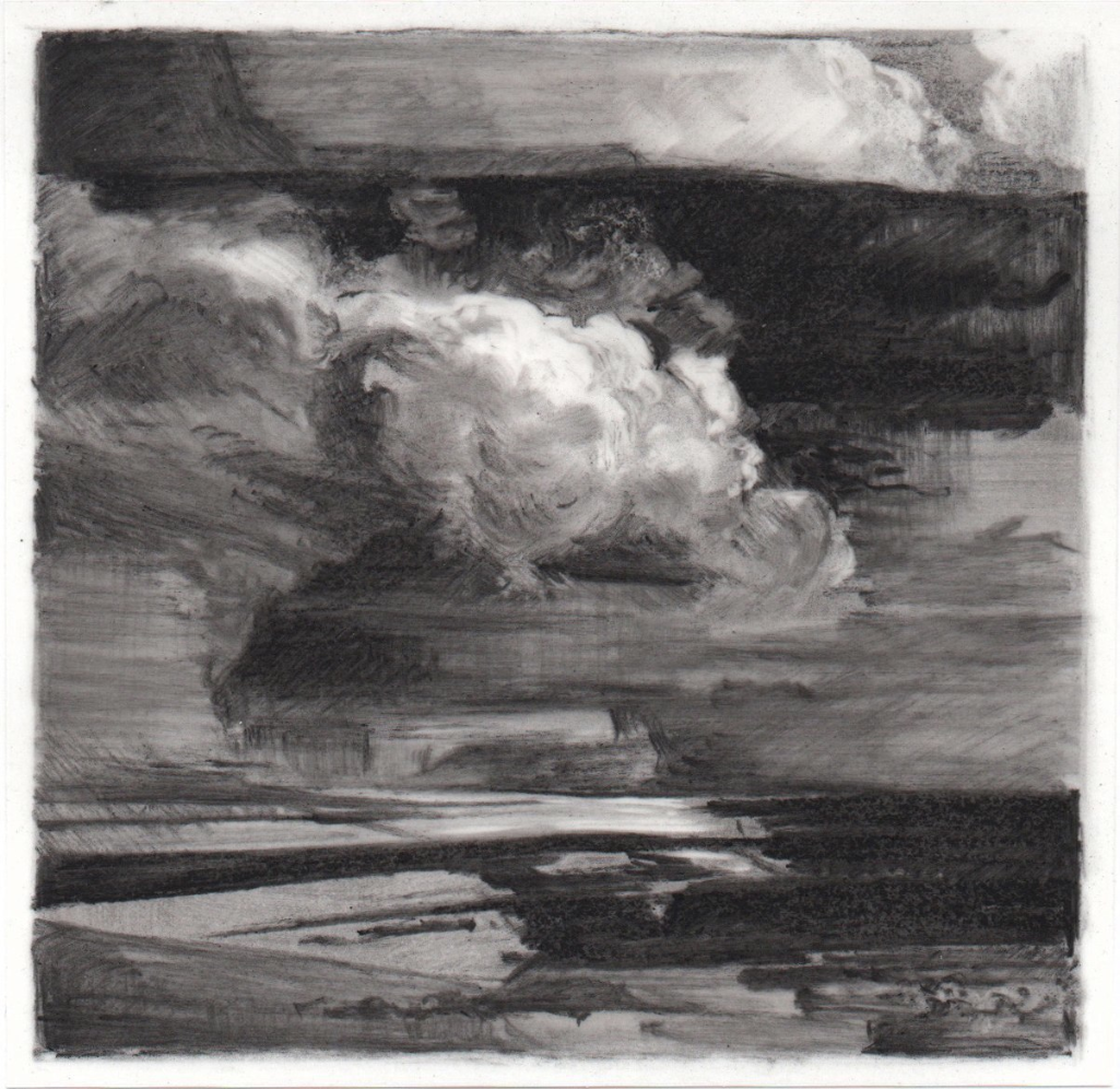 The Return , 2013. Charcoal on mylar.3.75 x 3.75 inches.  Available