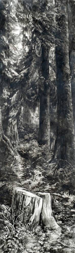 An End , 2012. Encaustic and charcoal on panel.51 x 15 inches.  Available