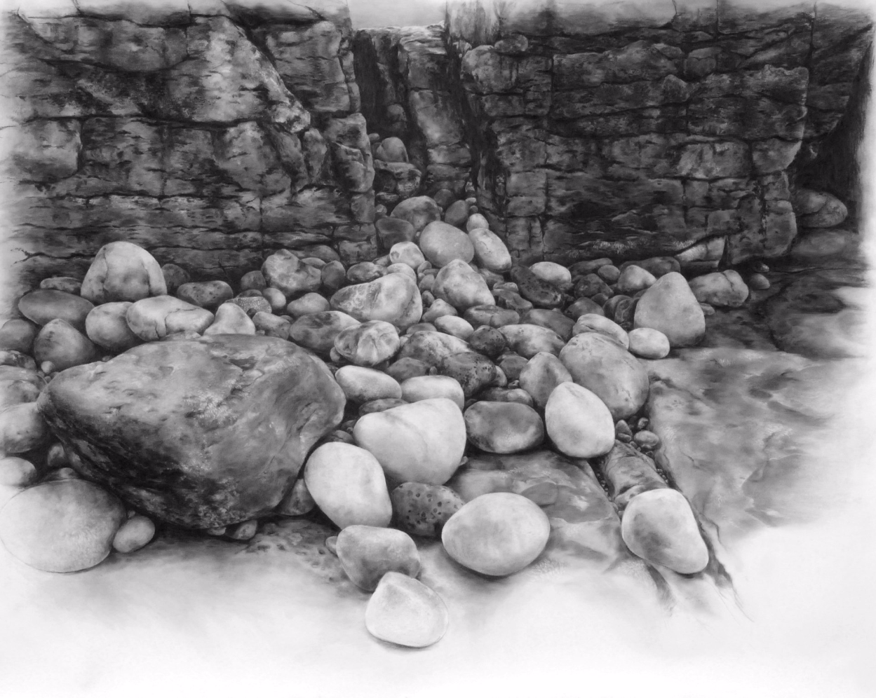 Origins , 2011. Charcoal on paper.45 x 57 inches. Collection of the State of New Mexico Art in Public Places program, San Juan Community College.