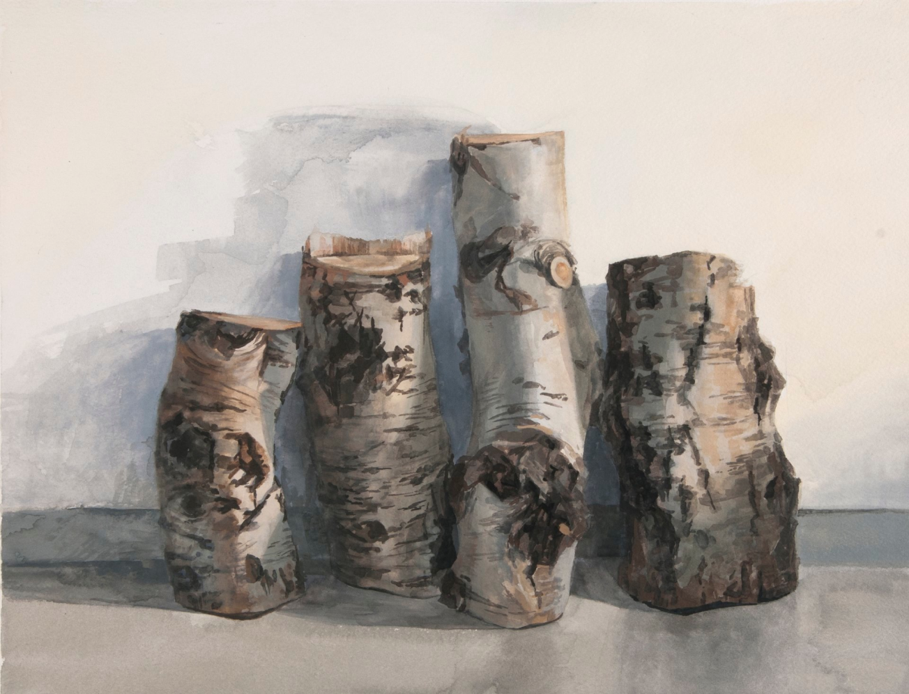 Stump Study , 2013. Gouache on paper. 11 x 15 inches. Collection of the artist.