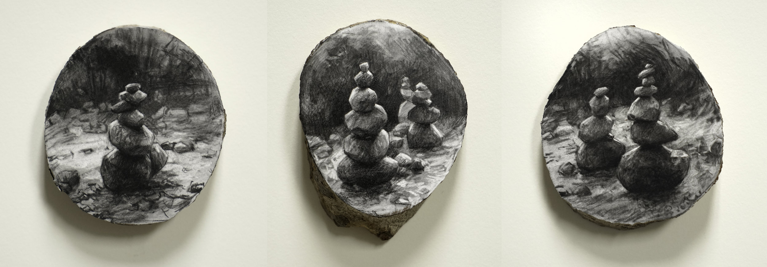 Cairn I, II, III,  2017. 3 x 3 inches each. Charcoal on sliced tree branch. Private collection.