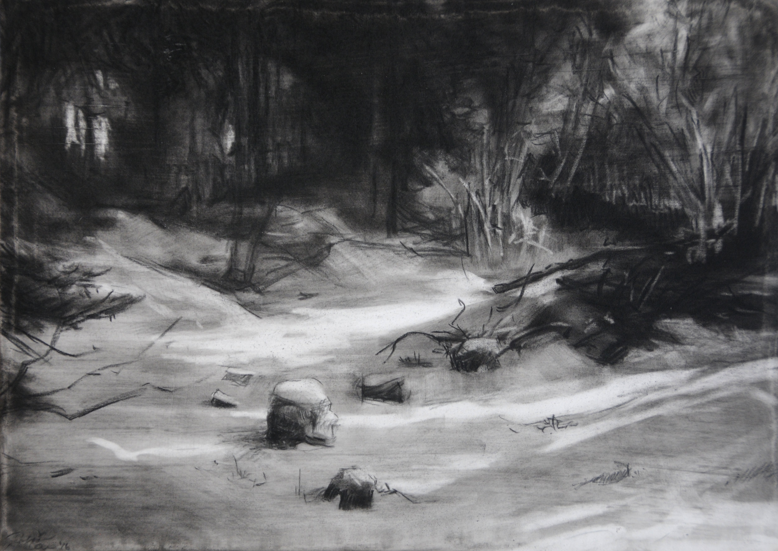 Small Moments I,  2016. 5 x 7 inches. Pan pastel and charcoal on panel. Private collection.