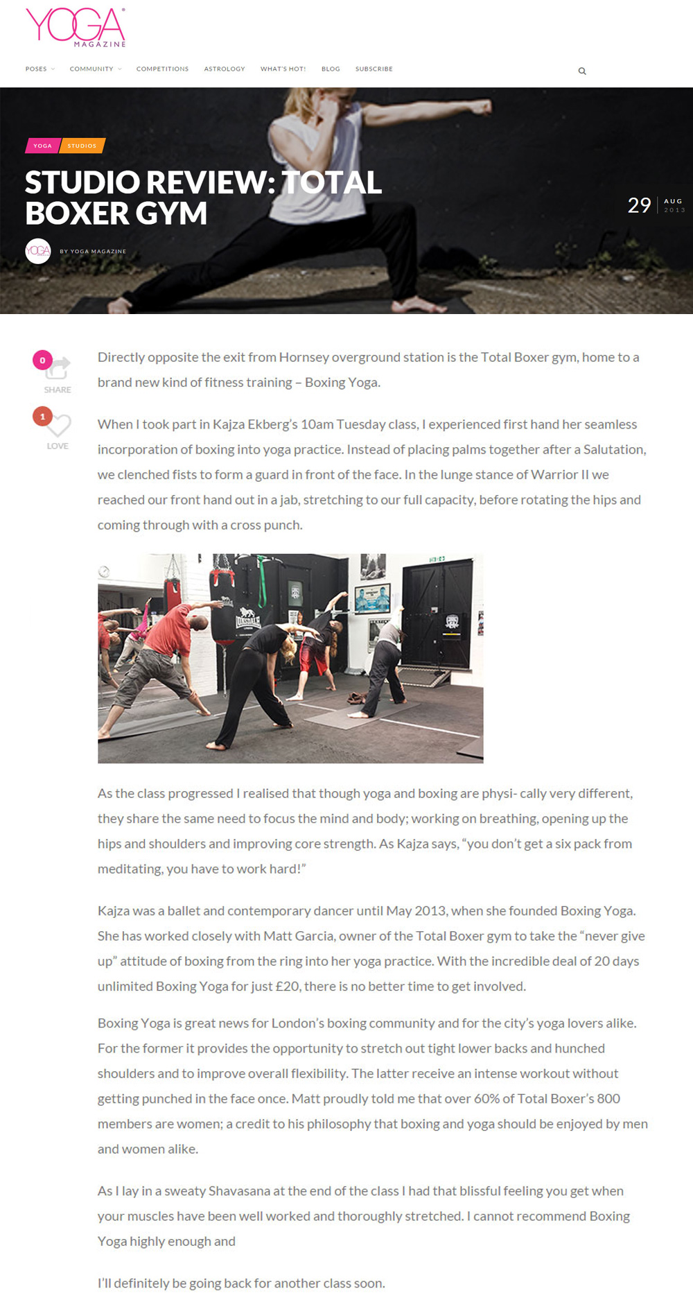 Yoga Magazine review North London Boxing Club