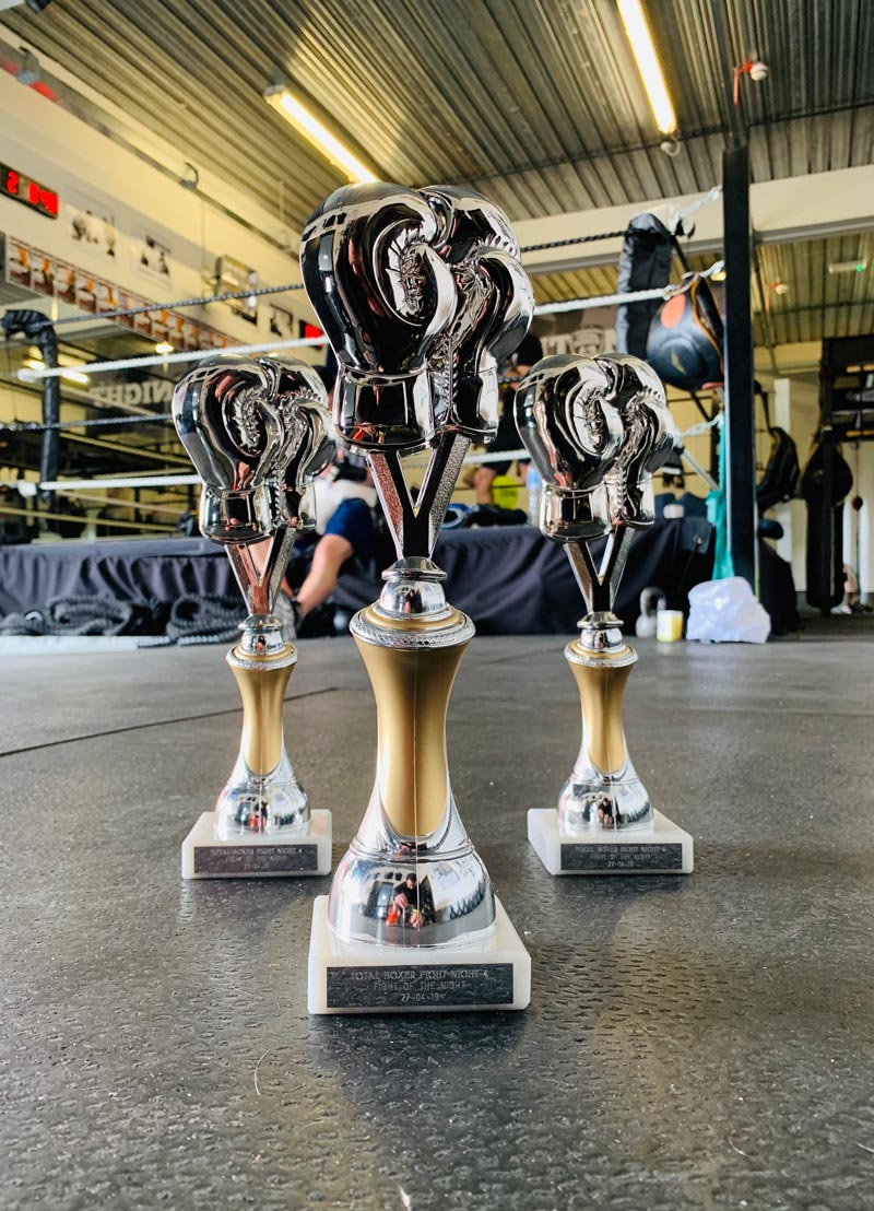 Special Total Boxer Fight Night 'Best Boxer' Trophy and competitor medals.