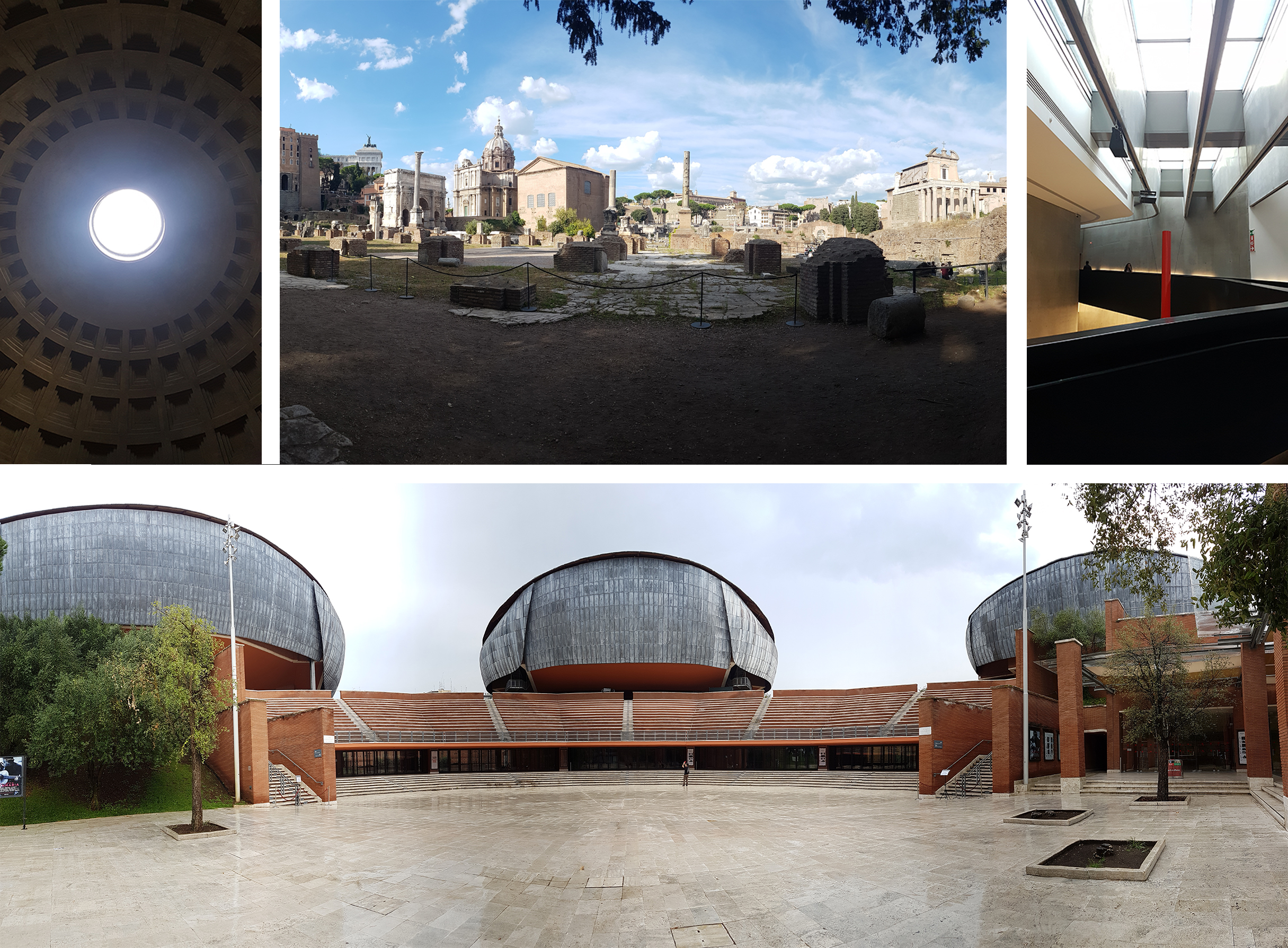 Left to right, top to bottom: Oculus @ The Pantheon, The Roman Forum, MAXXI Museum, Parco della Musica