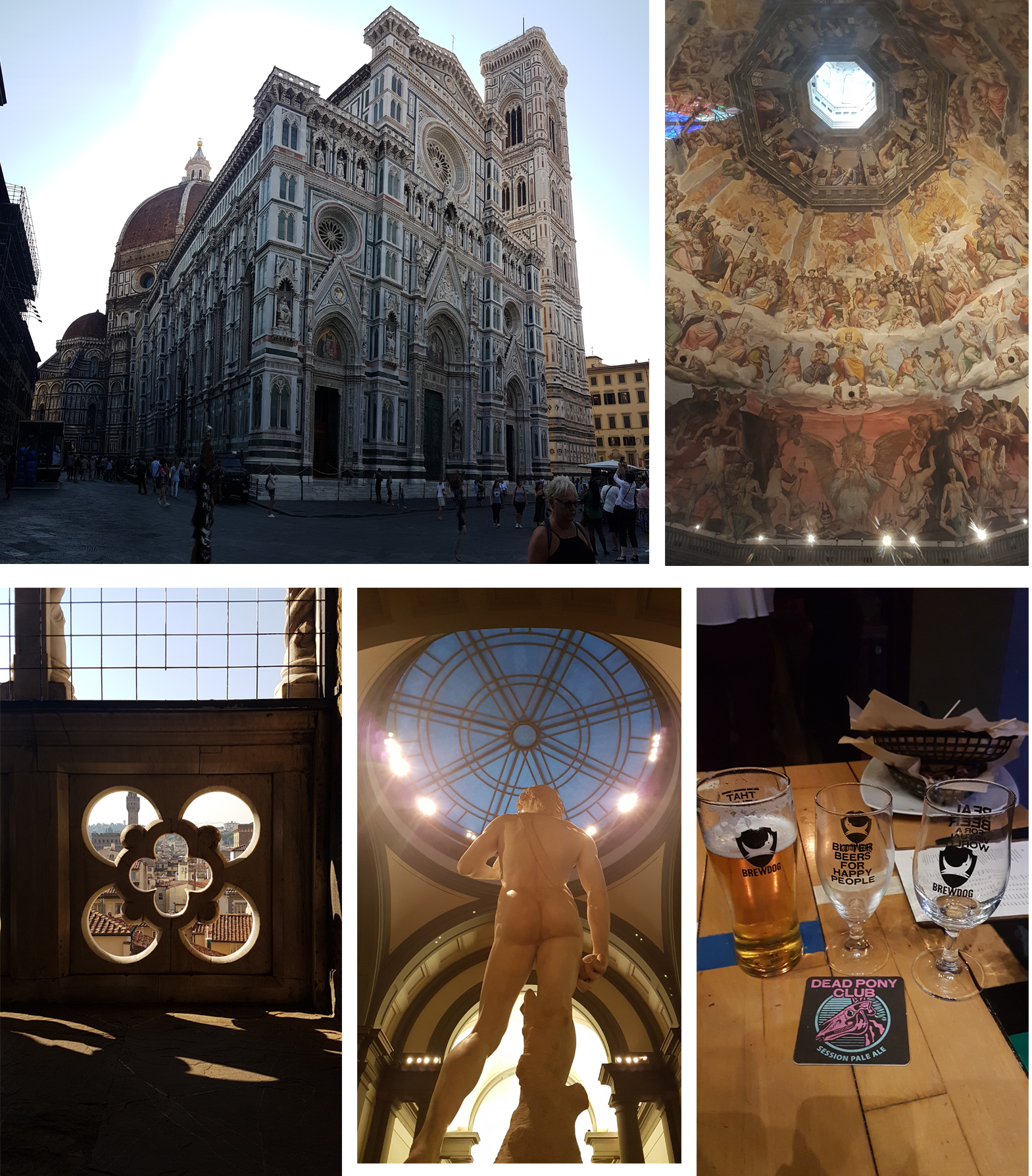 Left to right, top to bottom: Florence Cathedral, Giotto's Campanile, MIchelangelo's David (Uffizi Gallery), BrewDog Firenze