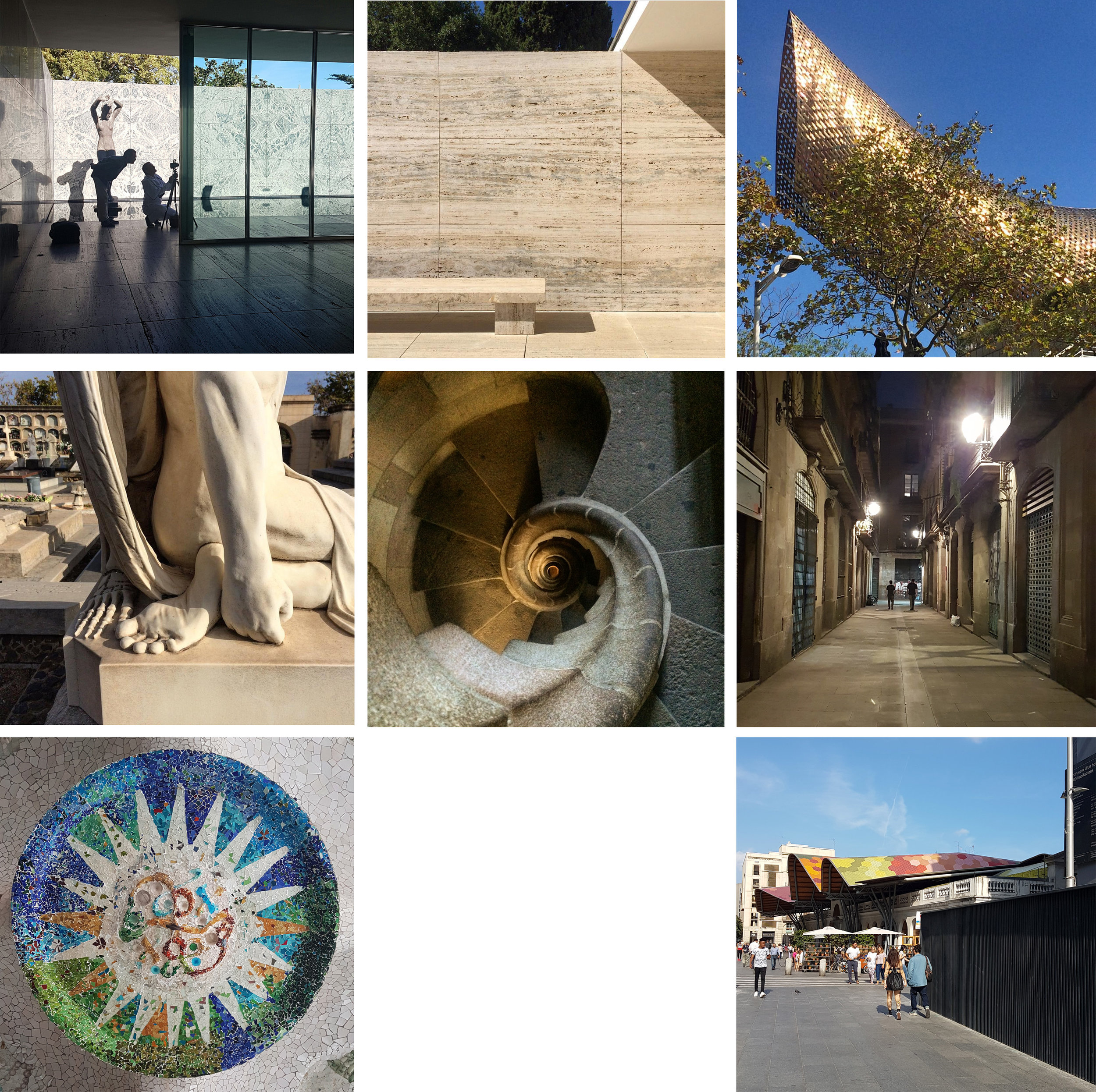 Left to right, top to bottom: Scenes from the Barcelona Pavilion; the tail end of Peix Olímpic; sculpture at Poblenou; stairs in Sagrada Familia; Kings of Bongo Bong en route to Bar Mariatchi; Gaudi mosaic; Santa Catarina Market