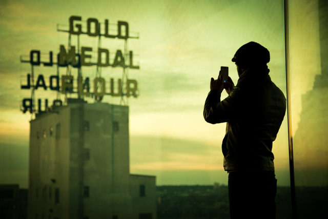 """Gold Medal Flour Sign. As seen from the """"Yellow Room"""".   1/125 sec @ f/4.0 w/ ISO 400 75mm."""