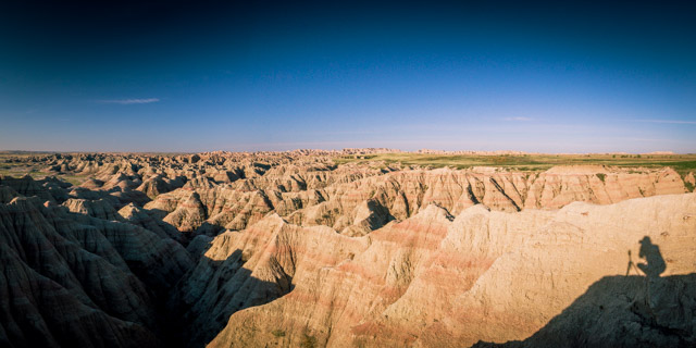 Big Badlands Overlook Self-Portrait.  1/40 sec @ f/14  ISO 400 (2 image panorama)