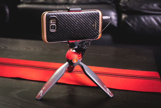 Vlogging Rig. Samsung Galaxy Edge 7 on Manfrotto PIXI mini tripod w/ connected Rode Smart Lav+ Mic.