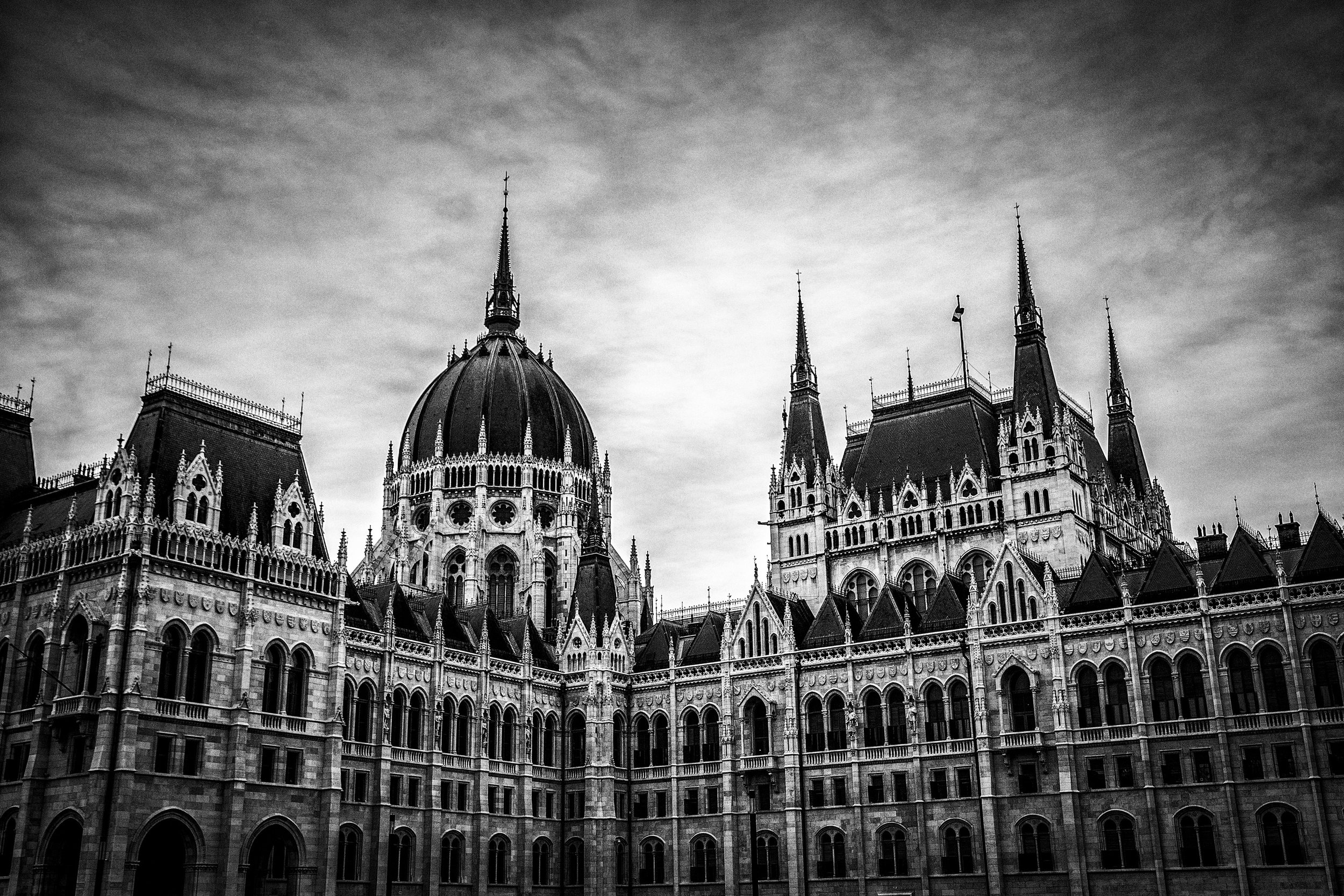 Hungarian Parliament: 1/640 @ f/7.1 ISO 500 35mm [Silver Efex Pro B/W render]