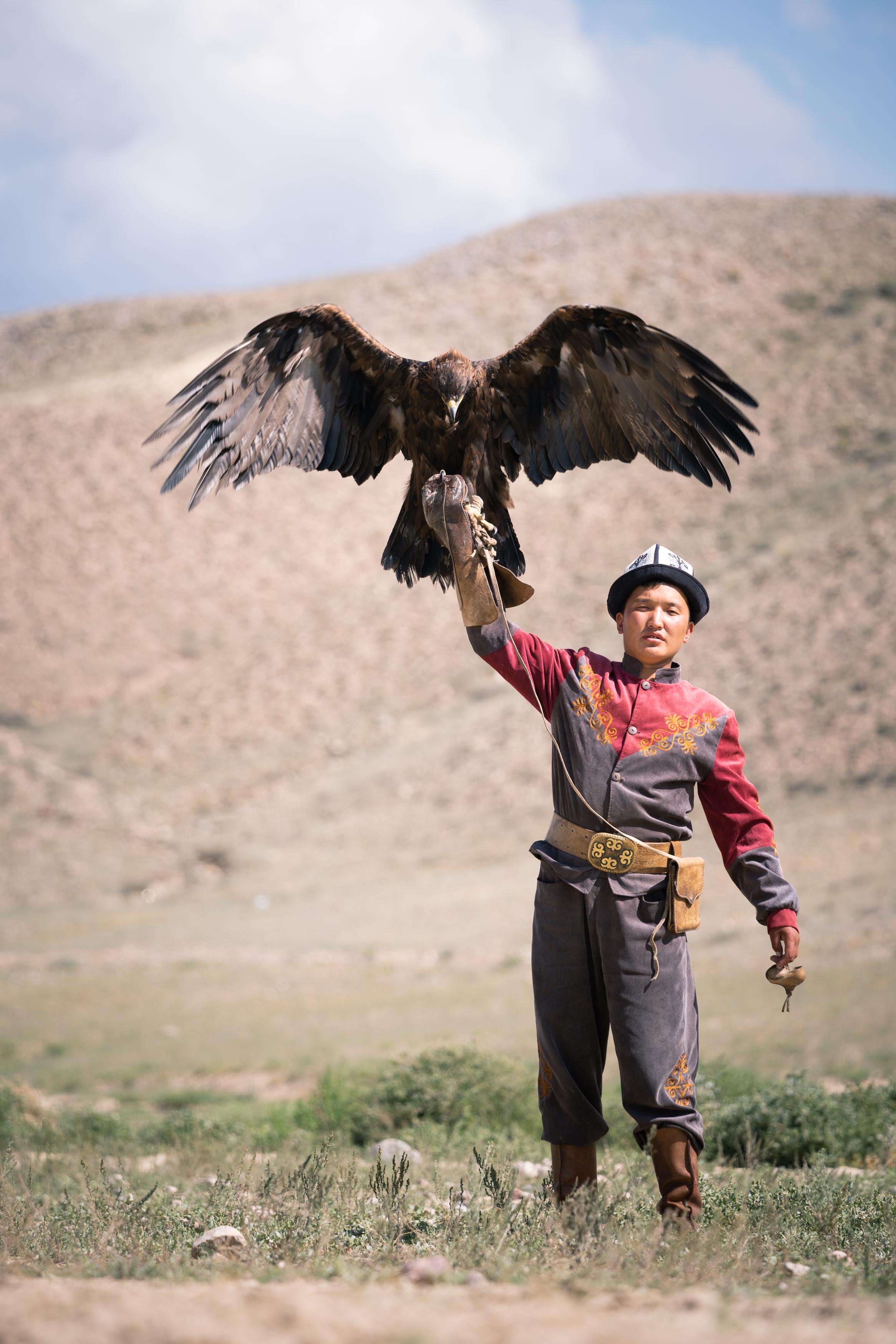 Nursultan, eagle hunter in Bokonbaevo, Kyrgyzstan