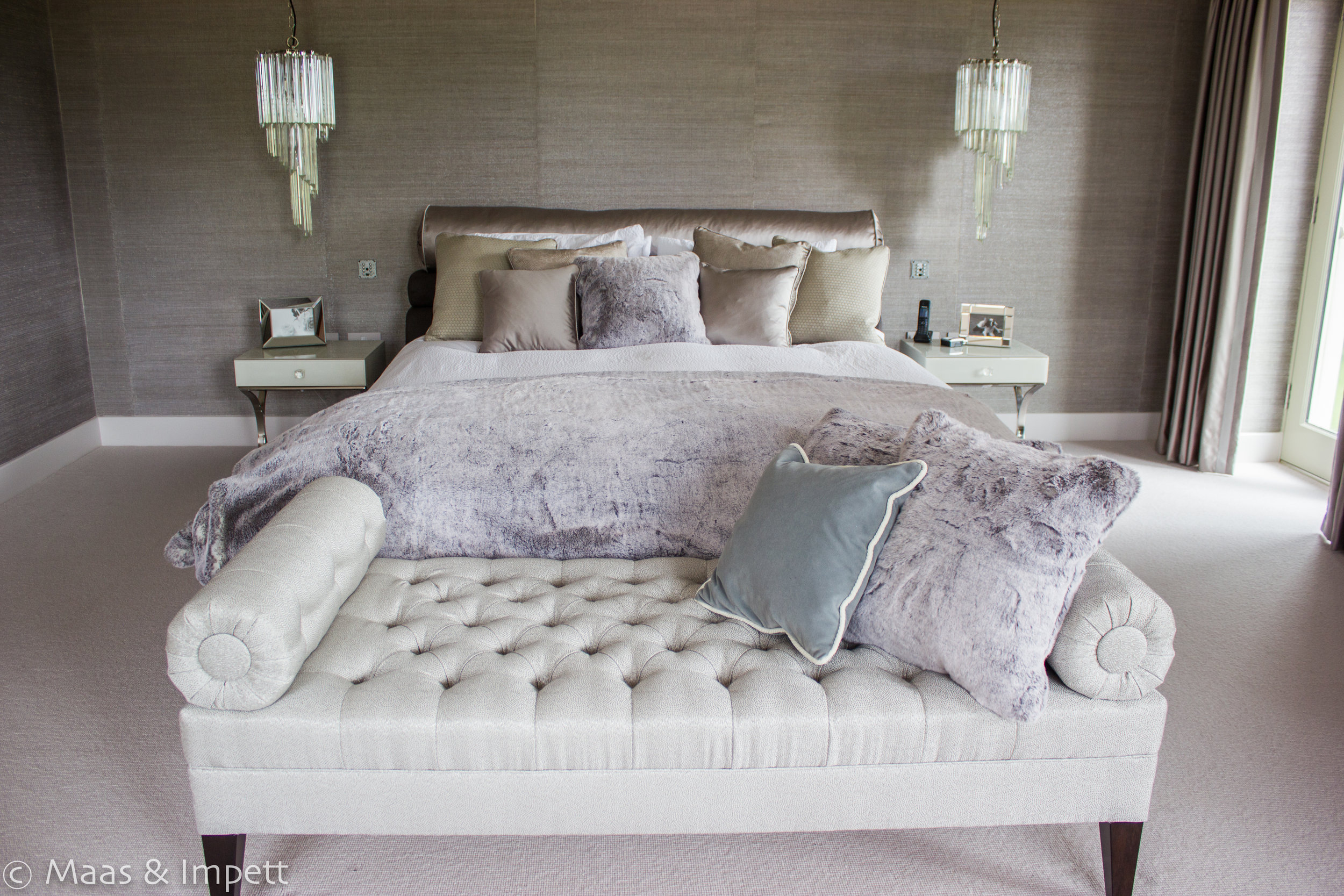 Bedroom interior by Maas & Impett, Hampshire based Interior designers.
