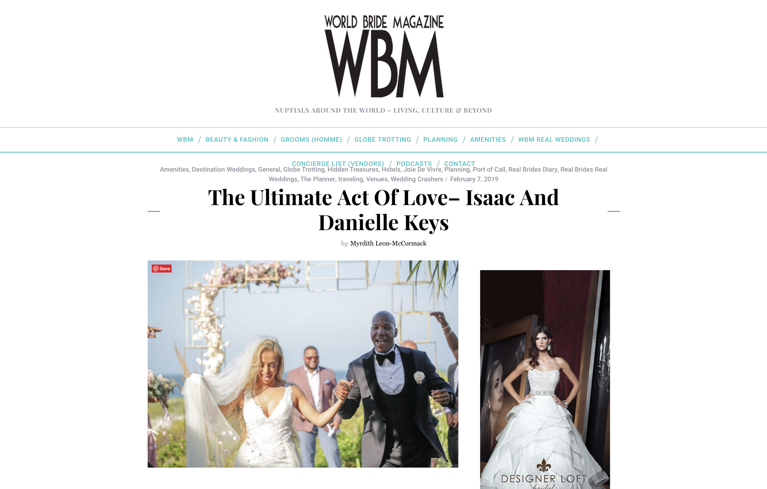 Our work was featured inWorld Bride Magazine - Watch the full video to see us take our cameras to Cancun, Mexico