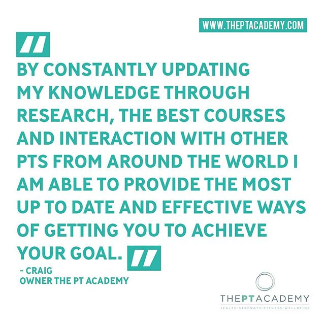 """""""By constantly updating my knowledge through research, the best courses and interaction with other PTs from around the world I am able to provide the most up to date and effective ways of getting you to achieve your goal."""" Get in touch about your fitness journey with us.  Link in our bio. . . . #PersonalTrainer #PersonalTraining #fitnessmotivation #instafit #lifestyle #weightloss #pt #exercise #training #health #fitness#gymlife #getfit #fatloss #strength #functional #goals #fitfam #hardwork #results #healthylifestyle #fitnesscoach #fitnesslifestyle #training #motivation #transformation #inspire #theptacademy"""