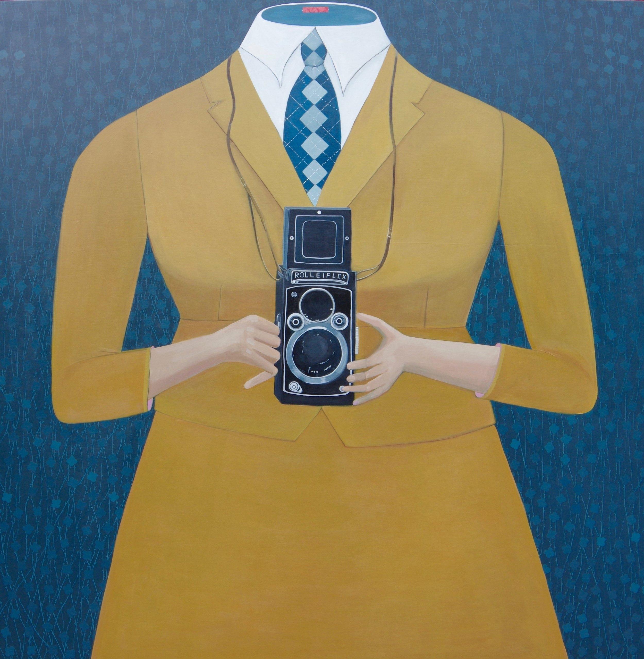 Headless Holding a Rolleiflex Camera   Acrylic on Panel  4'x4'  2018