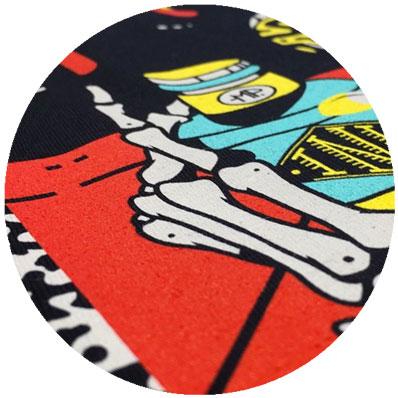 Close up of dxtr spot colour print