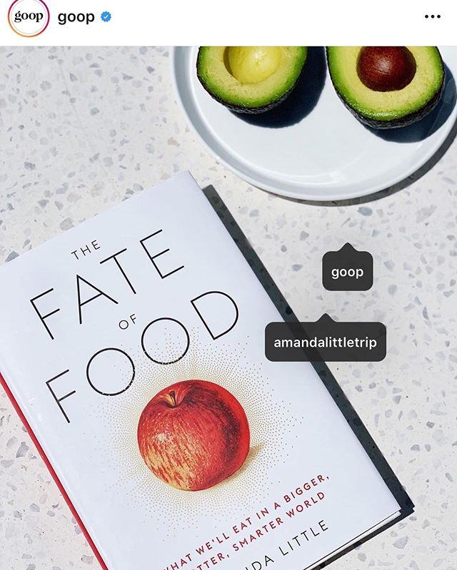 Feeling aglitter. @goop picked #FateofFood for #goopbookclub ! I wrote a little passage to describe the read for their #insta feed—quelle delight for a 'gram-rookie like me! Deeply grateful for the kindness and support from the supercharged @goop community. #luckyday
