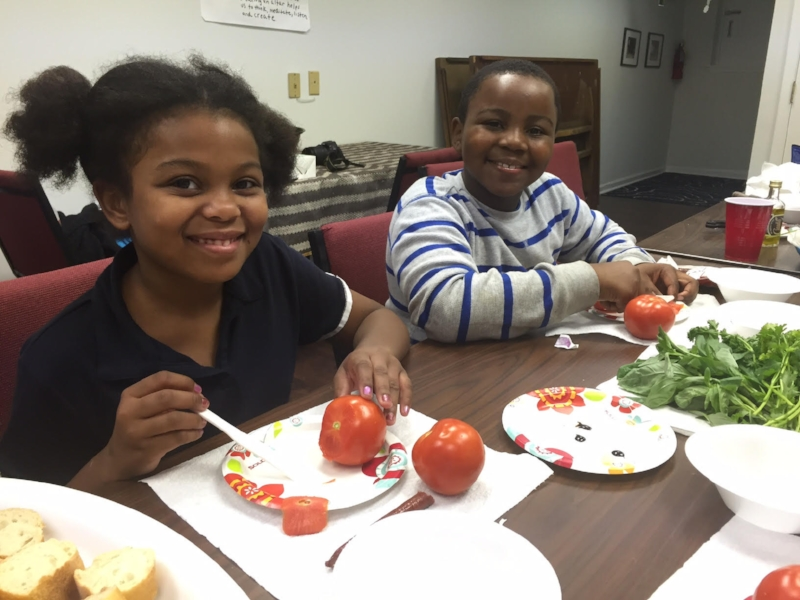 Pictured above: Jasiya and Michael at the Eat and Grow A Garden Workshop