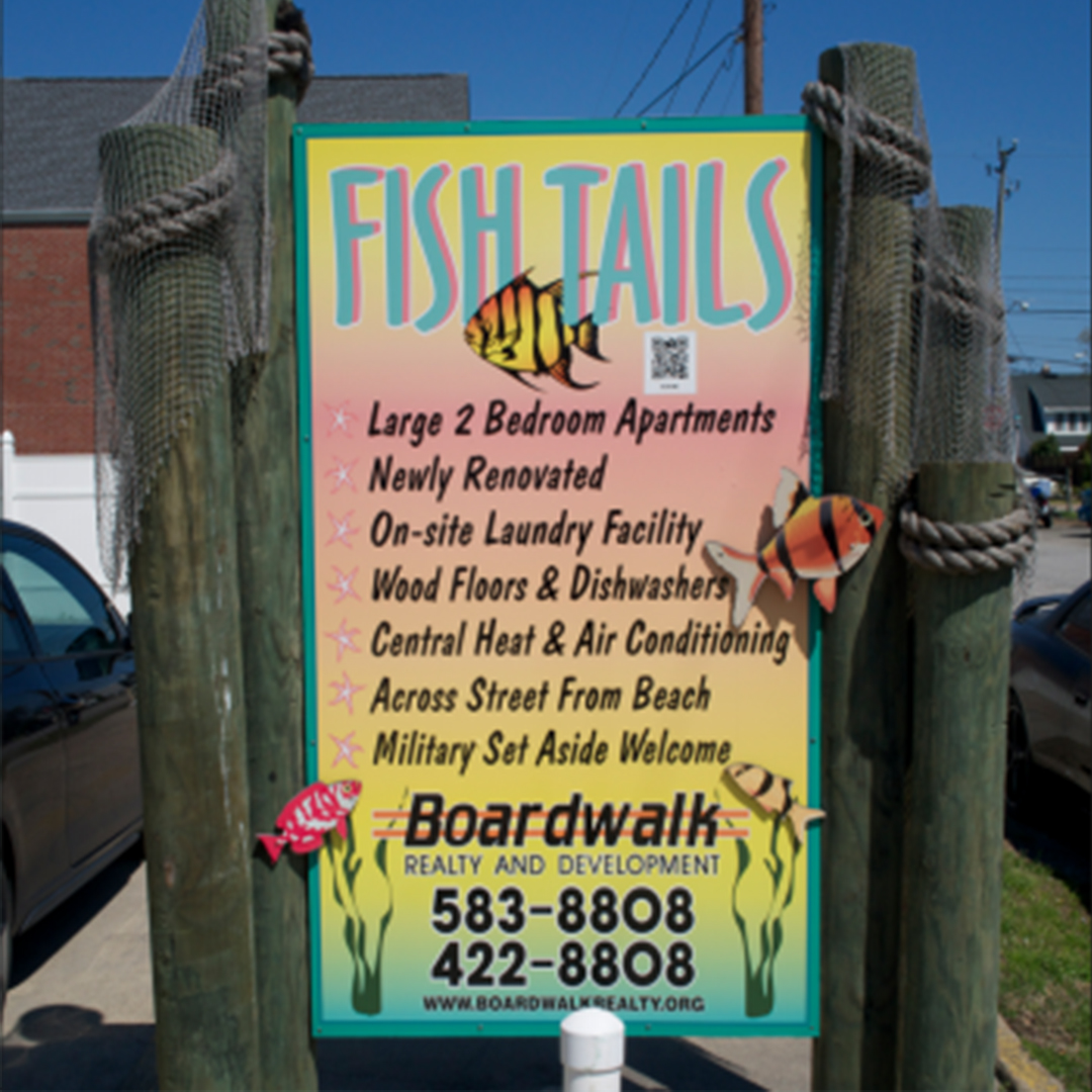 fish tails - 1261 West Ocean View Ave, Norfolk, VA 23503Built: 1972 | Renovated: 2012 | Units: 18Renovated in 2012, this property is located across the street from the beaches of the Chesapeake Bay and 3 blocks from the Willoughby Marina District. Fish Tails offers 1-bedroom apartment homes with dens and 2-bedroom beach apartment homes. Each unit has upgrade appliances, dishwashers, built-in microwave ovens, wood floors, extensive tile work, ceiling fans, upgraded bathrooms, great window space, and energy efficient central heat pump systems. The 1-bedroom apartments feature private and semi-private patios. The 2-bedroom apartment homes feature interior hallways. Water, sewer, trash service and pest control is included with the rent. We also provide 24-hour maintenance service. The property also has a well-equipped coin-op laundry room as well.