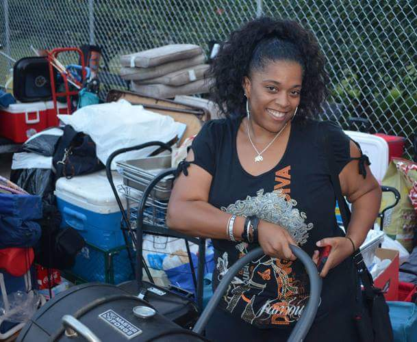 Alraynita Coleman hanging out with her stuff at 5am!
