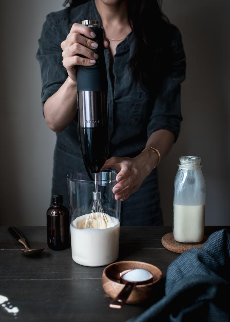 Paderno Variable Speed Immersion Blender with the whisk attachment whips up cream in no time!