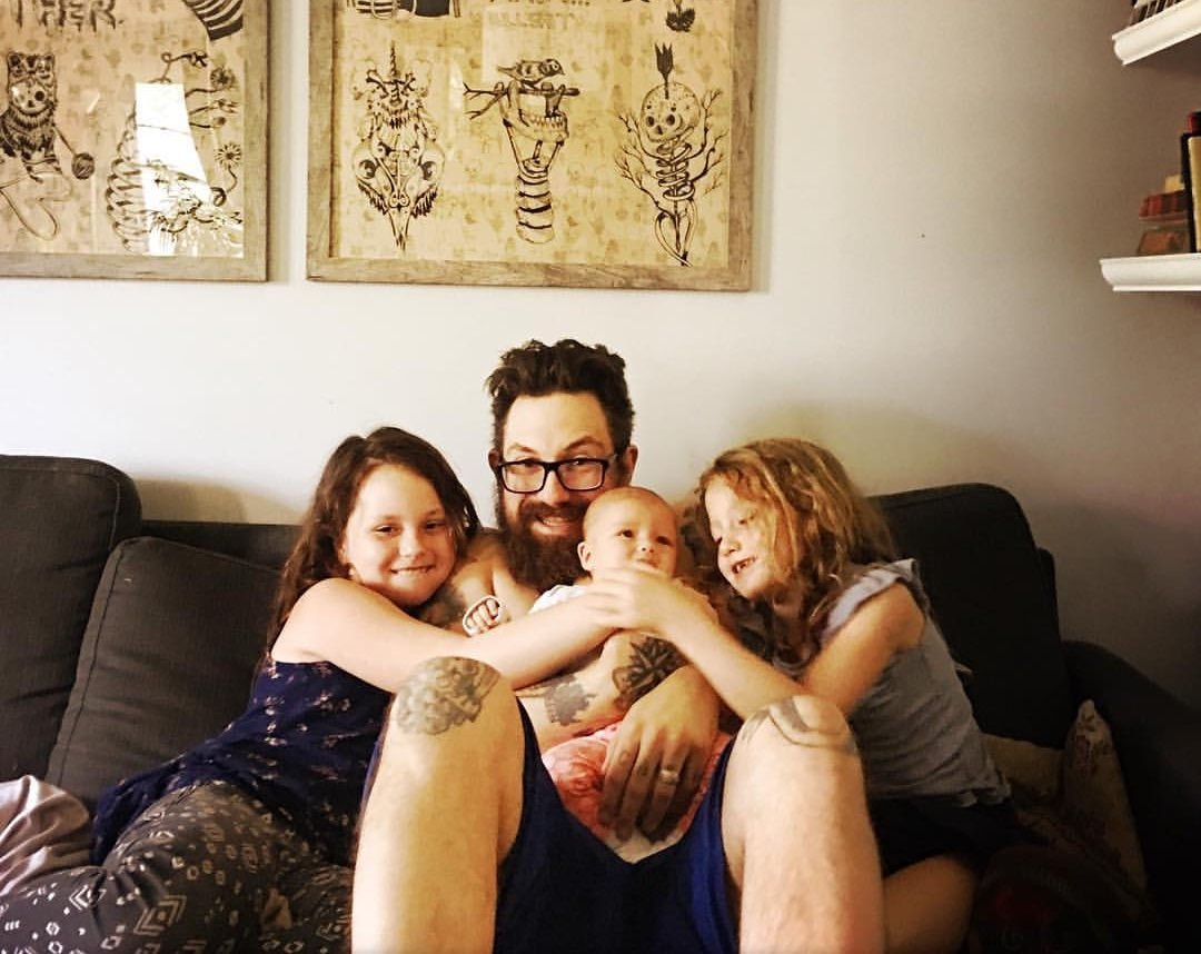 Her husband, Kyle, and the girls.