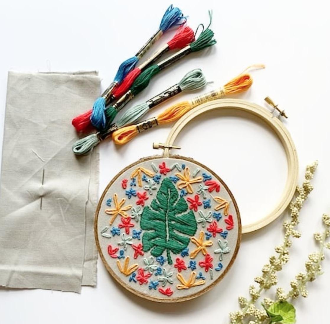 """Groovy Monstera"" Embroidery Kit!"